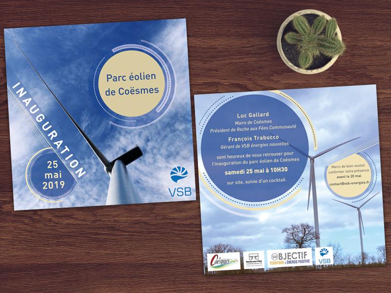 carton d'inauguration Parc éolien de Coësmes